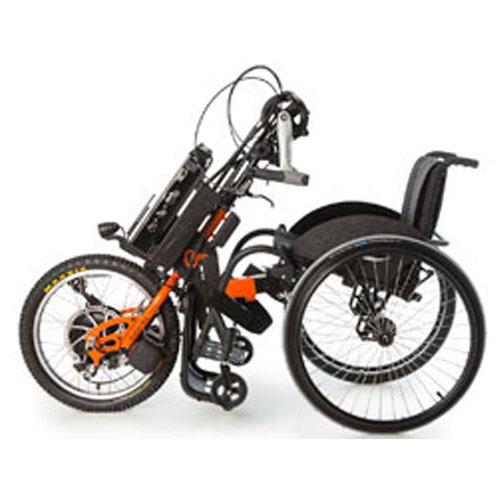 Batec hybrid handbike attached to wheelchair