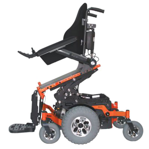 Glide Centro mid wheel drive wheelchair frame in orange showing anterior reach option