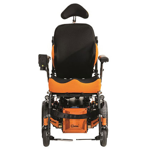 Glide Centro mid wheel drive wheelchair frame in orange fitted with SPEX seating