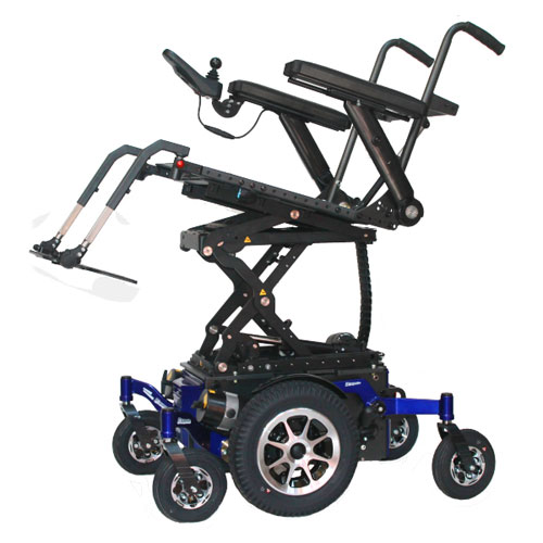 Glide Centro mid wheel drive wheelchair frame in blue showing seat raise option