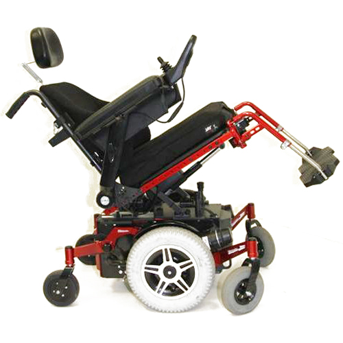 Glide Centro mid wheel drive wheelchair frame in red showing seat tilt function