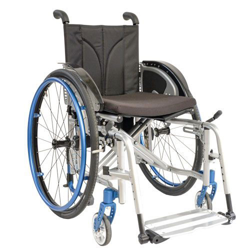 SORG Jump Beta folding wheelchair in white and blue