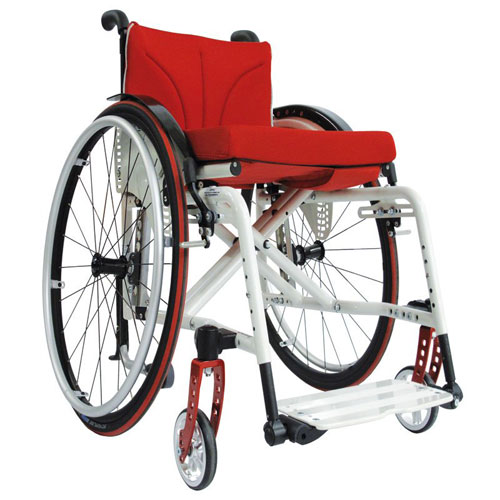 SORG Jump Beta folding wheelchair in white and red - side view