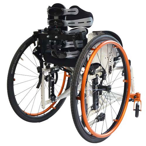 SORG Jump Beta folding wheelchair in white - rear view