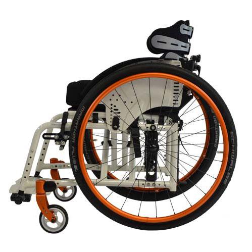 SORG Jump Beta folding wheelchair in white - side view