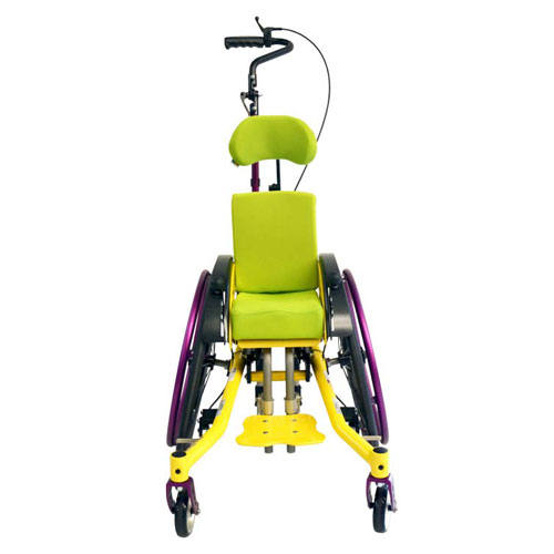 SORG Mio Move tilt-in-space children's wheelchair in yellow and purple