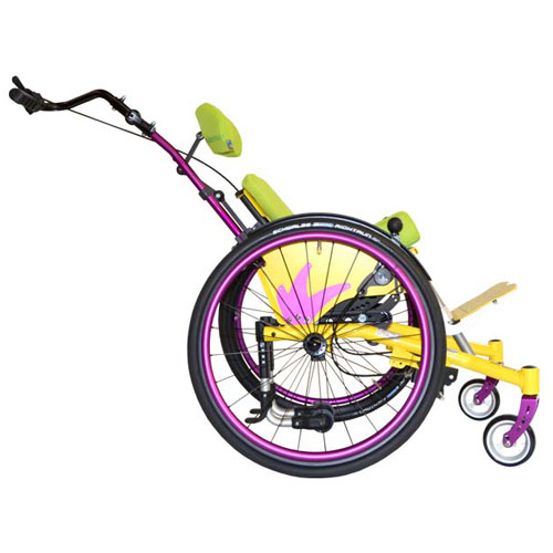 SORG Mio Move tilt-in-space children's wheelchair in yellow and purple in tilt