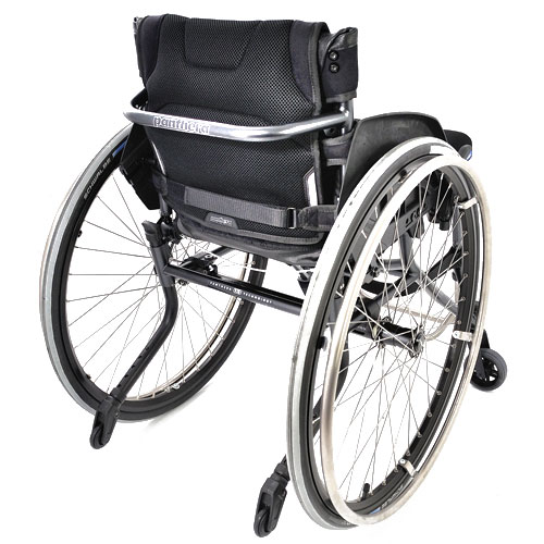 Panthera U3 lightweight manual wheelchair fitted with sideguards and anti tippers - rear view