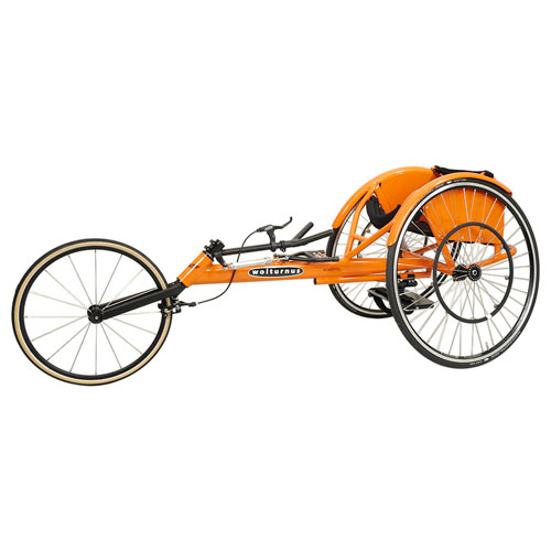 Side view of Wolturnus Amasis track / racing chair in orange