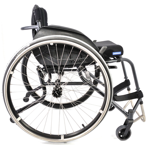 Panthera U3 lightweight manual wheelchair fitted with sideguards and anti-tippers - side view