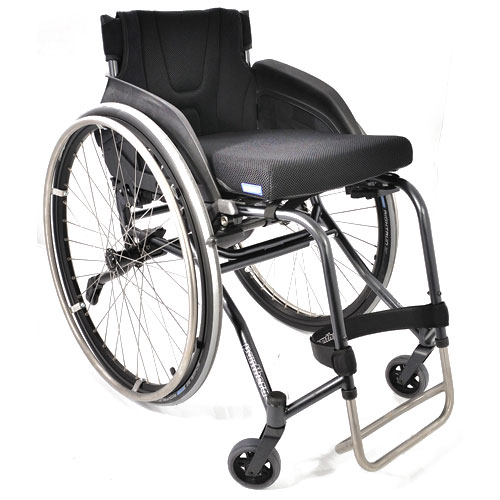 Panthera U3 lightweight manual wheelchair fitted with sideguards and anti-tippers