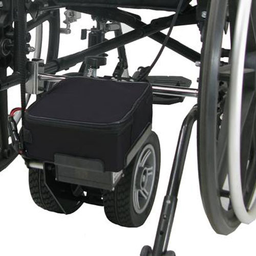 Close-up of Pride Power assistance unit fitted to a wheelchair