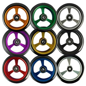 Multi coloured wheelchair caster wheels