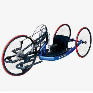 Wolturnus Antares Junior handbike in blue with red tyres