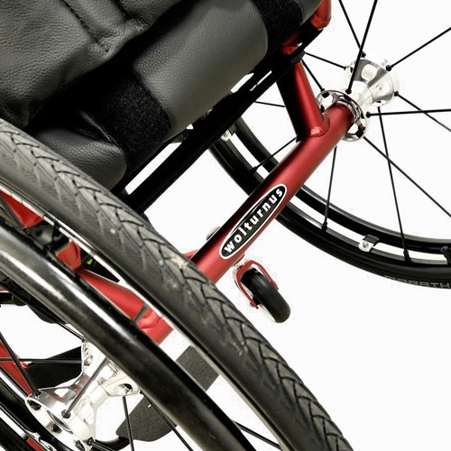 Wolturnus Tukan wheelchair in red - rear view