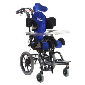 Anatomic SITT Delfi Pro seating system in blue mounted on a Guppy wheelchair
