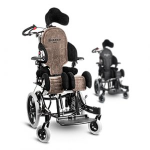 Anatomic SITT Sharky Pro seating system mounted on a Seabass wheelchair